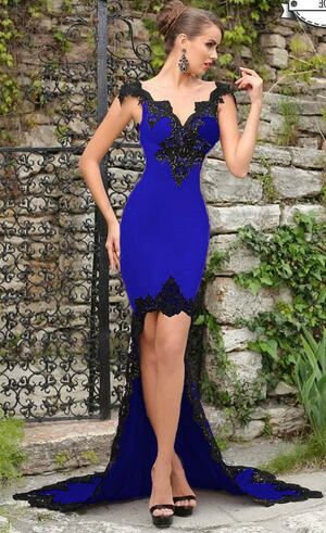 0743 SHORT DRESS IN FRONT AND LONG BEHIND CREPE ELECTRIC BLUE WITH MACRAME '
