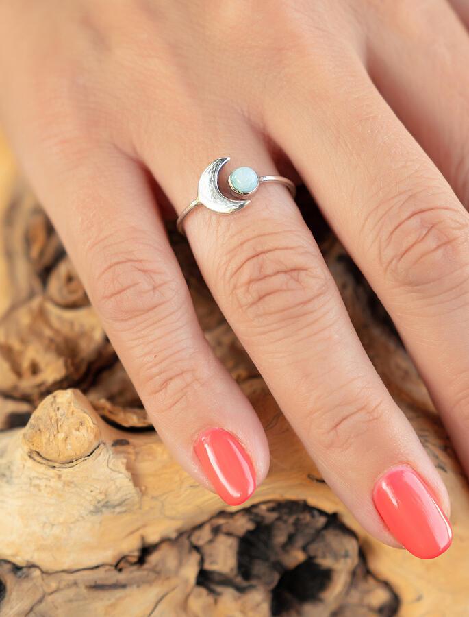 Anello donna in argento regolabile con luna e pietra Larimar