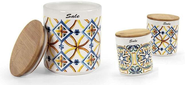 Barattolo da Cucina Sale in Ceramica Linea Amalfi con Coperchio in Sughero Contenitore 12cm
