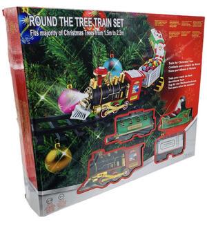 Trenino Natalizio con Supporto Installazione per Centro Albero di Natale Treno Elettrico 3 Vagoni con Luci Natalizie Diametro Pista 89 cm