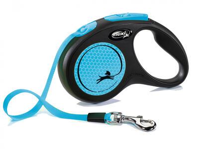 Flexi New Neon Azzurro S 5 Metri Fettuccia Guinzaglio Per Cani Peso Max 15 kg