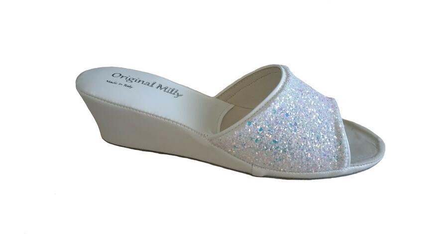 Milly 104 glitter ciabatte eleganti aperte bianche