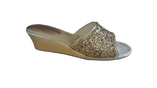 Milly 104 glitter ciabatte eleganti aperte color oro