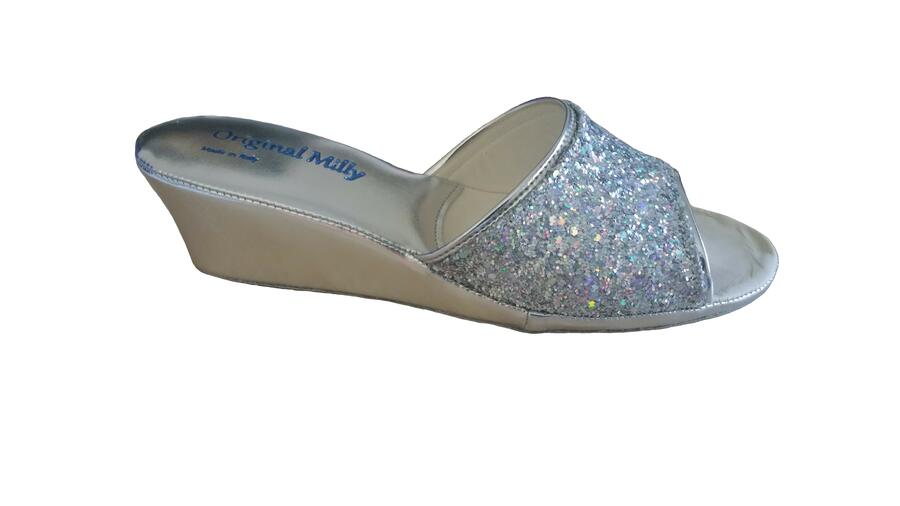 Milly 104 glitter ciabatte eleganti aperte color argento