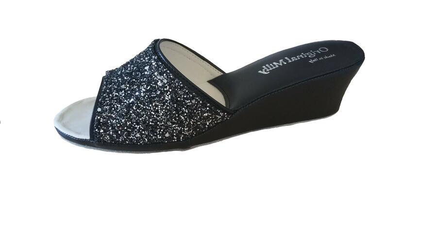 Milly 104 glitter ciabatte eleganti aperte color nero