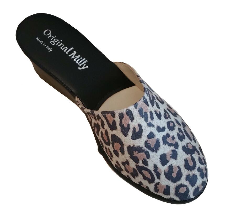 Milly 5000 ciabatte da camera leopardate bianche chiuse