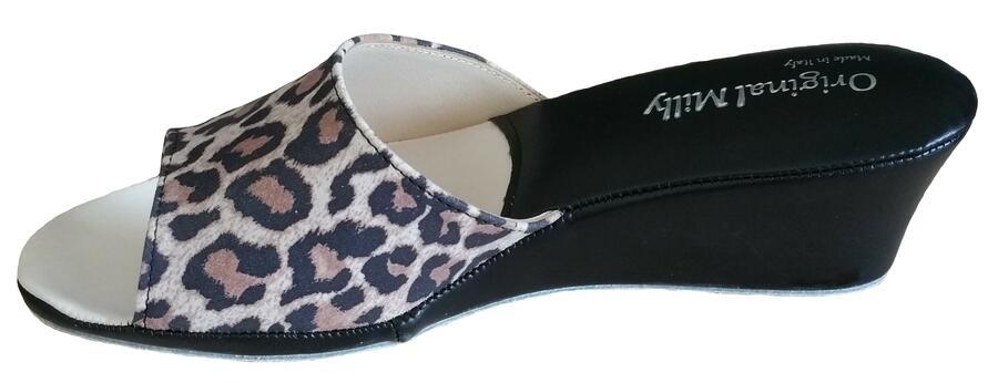 Milly 103 Leopardate ciabatte da camera aperte bianche