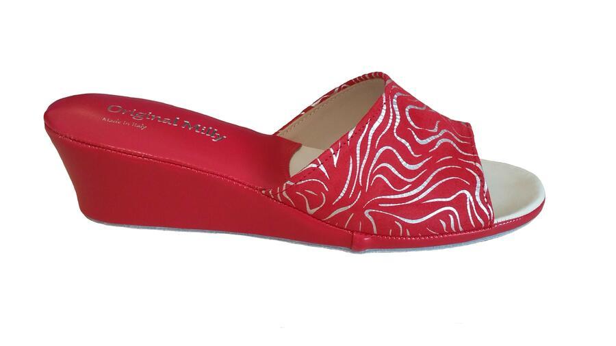Milly 103 Zebrato rosso ciabatte da camera in pelle aperte