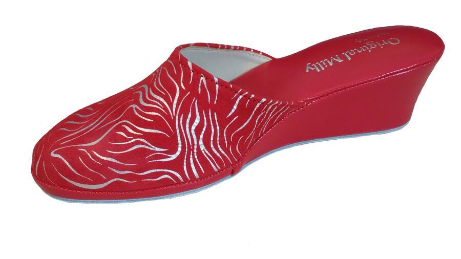Milly 5000 Zebrato rosso ciabatte da camera chiuse in pelle scamosciata