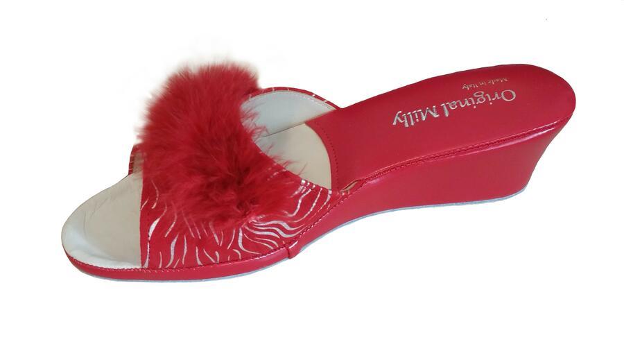 Milly 102 Zebrato rosso ciabatte da camera aperte con piuma
