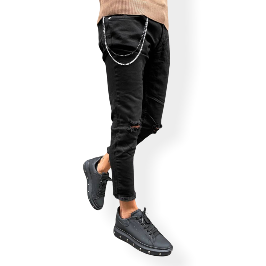 OVER D - JEANS NERO DESTROYED CATENA P27