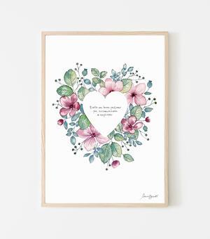 """Poster """"Cuore fiori"""" 21x29cm"""