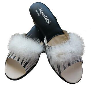 Milly 102 Zebrato  ciabatte da camera pelle aperte con piuma bianca Marabou