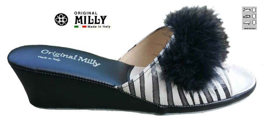 Milly 102 Zebrato ciabatte da camera in pelle aperte con piuma nera Marabou