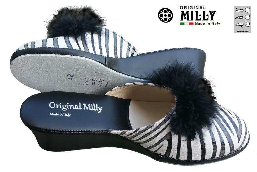 Milly 300 Zebrato ciabatta pelle chiusa con piuma nera Marabou