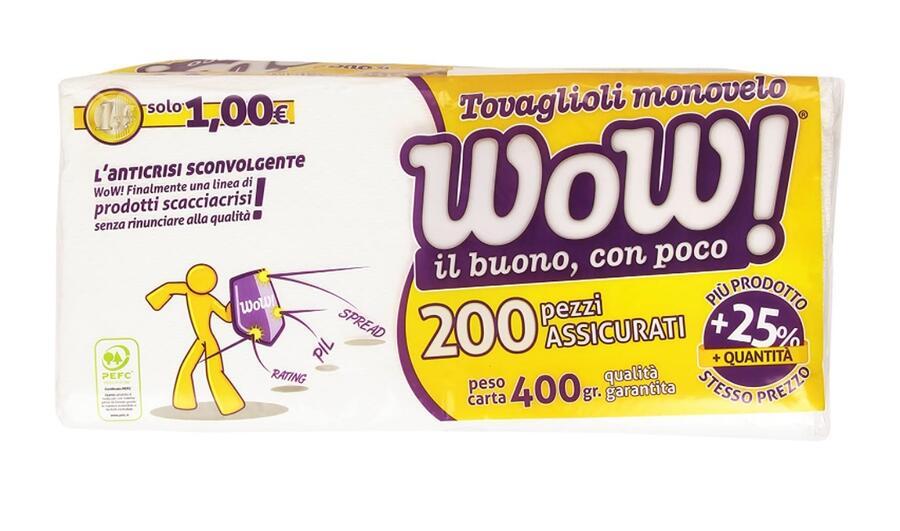 Wow - Tovaglioli Monovelo, 33 X 33 Cm - 200 Pezzi