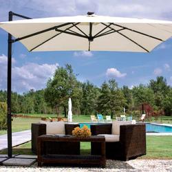 Ombrellone da giardino BELEN con luci led 3x3 rettrattile telo ecrù con palo laterale alluminio e manovella E5023