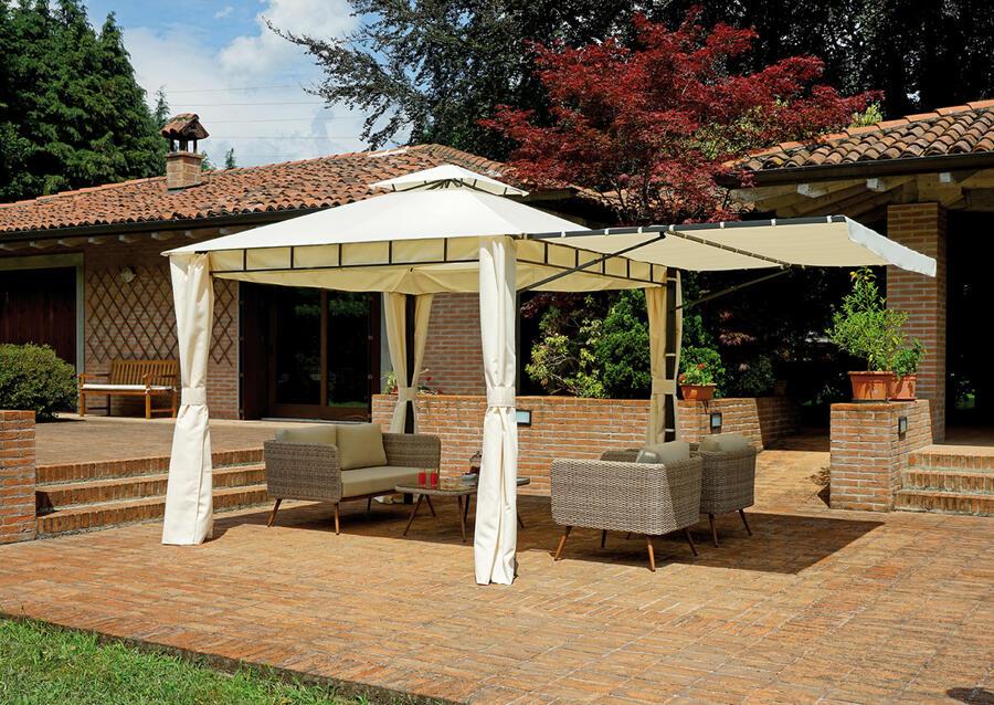 Ricambio copertura GAZEBO quadrato 3×3 mt estensibile fino a 5×3 mt in ferro epoxy antracite con tende GAZ 364
