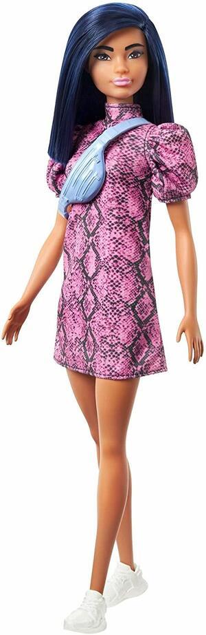 Barbie Fashionistas con Capelli Blu, Abito Rosa e Nero, Sneakers - Mattel GHW57 - 3+