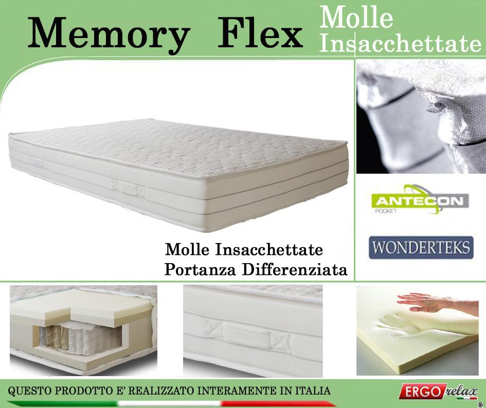 Materasso Matrimoniale Auchan.Materasso Memory Mod Memory Flex Con Molle Insacchettate Singolo Da Cm 80x190 195 200 Sfoderabile Ergorelax