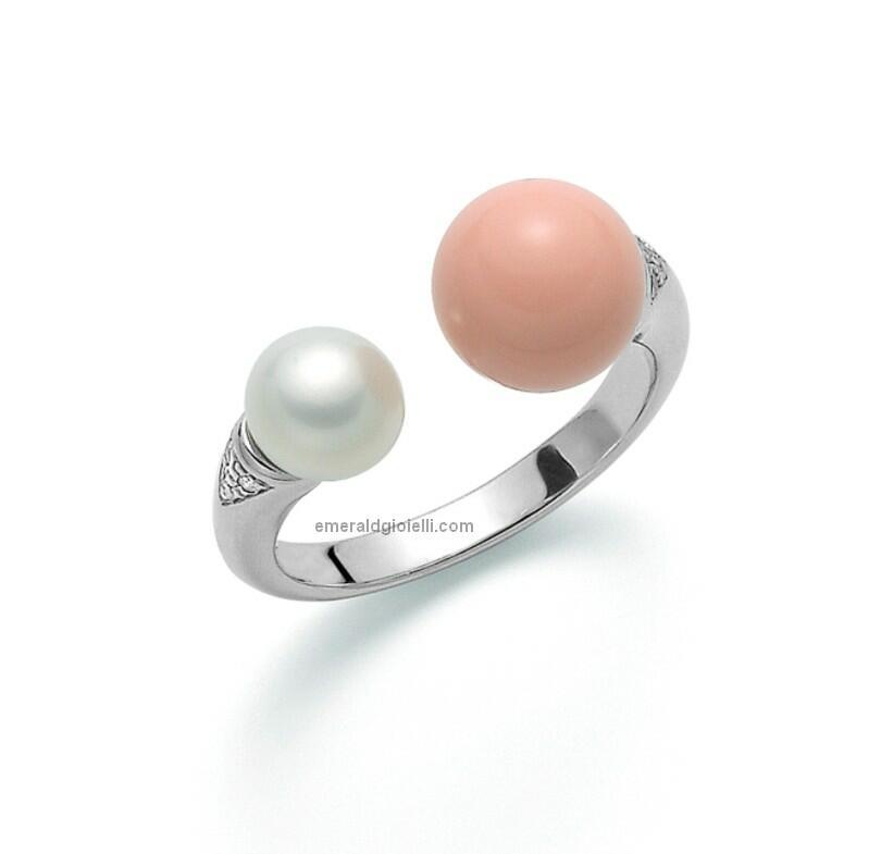 pli1602 Anello Contrariè con perla e Corallo Rosa Miluna -
