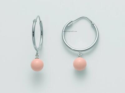 per2477 Orecchini Boccole con sfere pendenti color Corallo Rosa Miluna