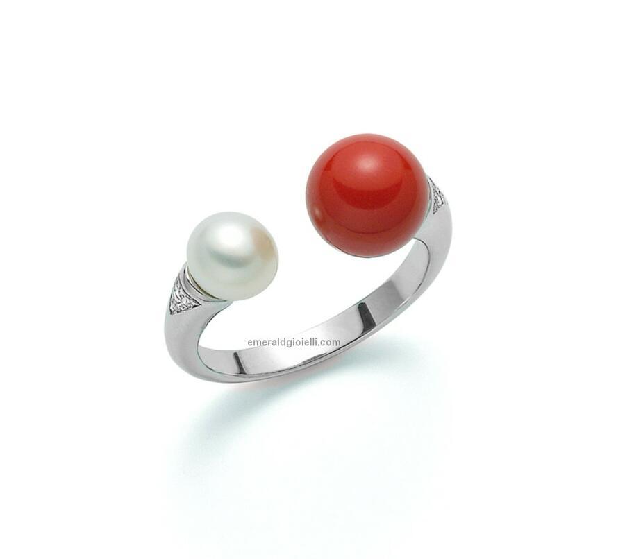 pli1601 Anello Contrariè con perla e Turchese, Miluna -