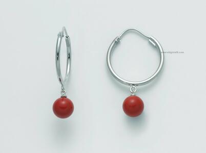 per2475 Orecchini Boccole con sfere pendenti color Corallo Rosso Miluna