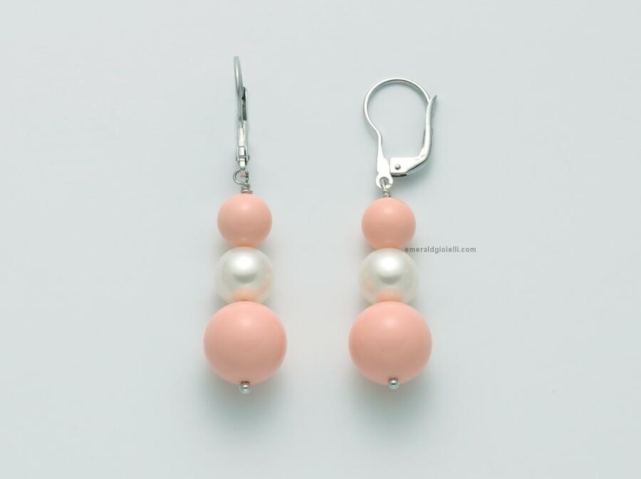 per2467 Orecchini con Perle e sfera color Corallo Rosa Miluna
