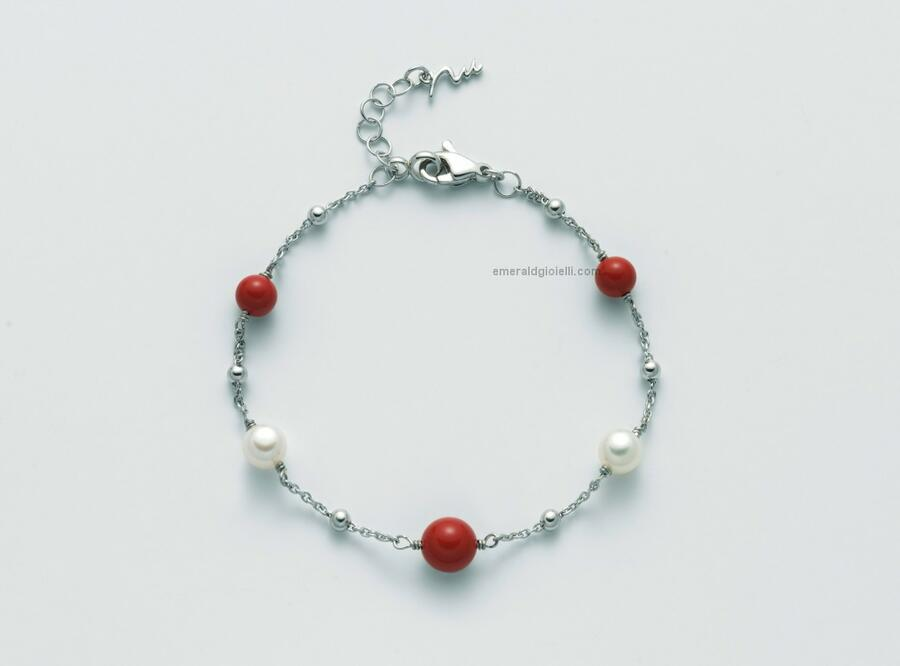 pbr3017 bracciale Miluna con sfere color Corallo Rosso e Perle -