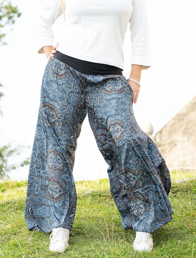 Pantalone donna Keertana zampa d'elefante - nero arancio