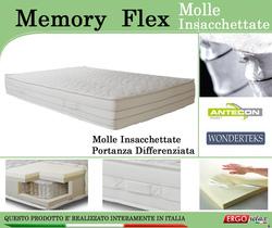 Materasso Memory Mod. Memory Flex con Molle Insacchettate Matrimoniale da Cm. 160x190/195/200 Sfoderabile - Ergorelax