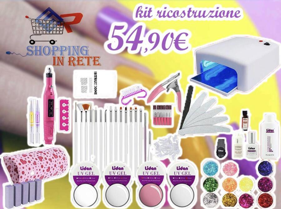 Kit Ricostruzione Unghie Nail Gel Estetista Professionale Colata French