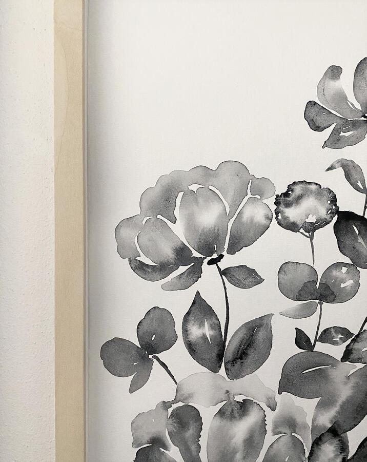 Acquerello originale con fiori in bianco e nero 30x40cm