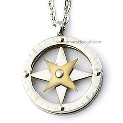 ST2578 Collana Uomo Rosa dei Venti Acciaio e Oro Thiago gioielli
