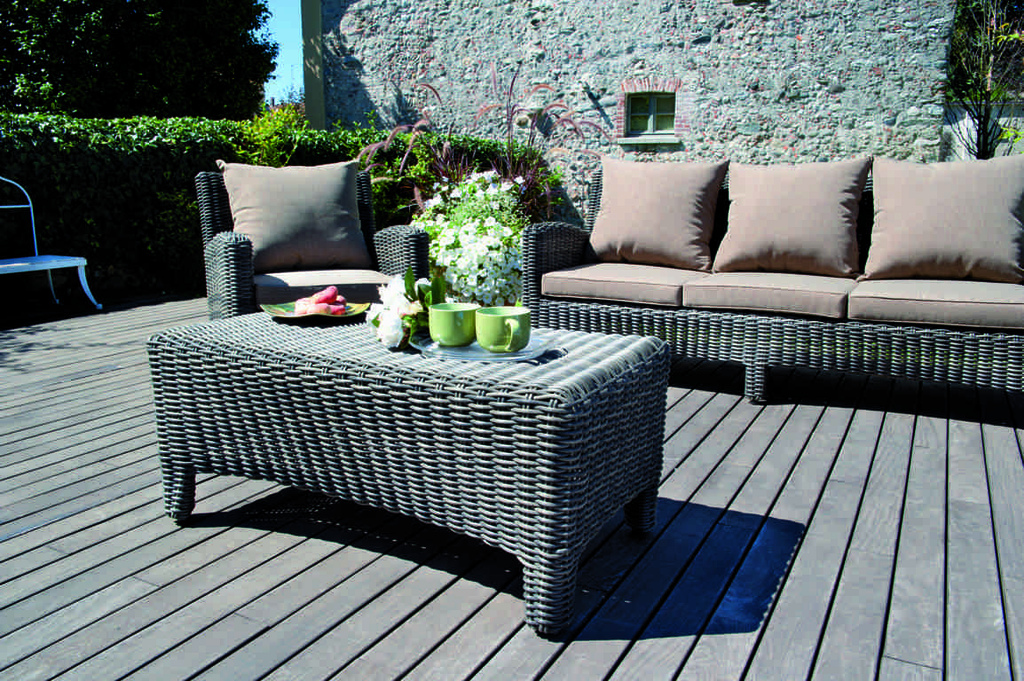 Set Divanetto giardino Porto Rotondo divano + 2 poltrone + tavolino cuscini rattan sintetico SET90
