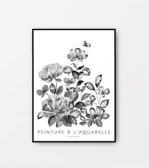 "Poster ""Jardin fleuri"" bianco e nero 30x40cm"