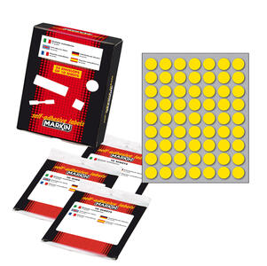 Etichetta adesiva giallo tonda Ø14mm (10fogli x 63etichette) Markin