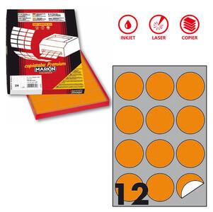 Etichetta adesiva R/310 arancio fluo 100fg A4 tonda Ø60mm (12et/fg) Markin