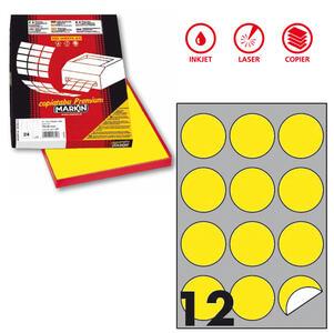 Etichetta adesiva R/310 giallo fluo 100fg A4 tonda Ø60mm (12et/fg) Markin