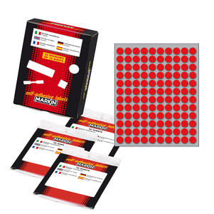 Etichetta adesiva rosso tonda Ø10mm (10fogli x 120etichette) Markin