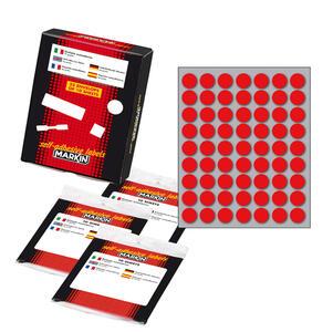 Etichetta adesiva rosso tonda Ø14mm (10fogli x 63etichette) Markin