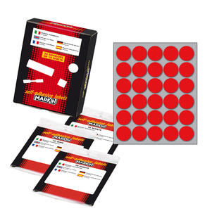 Etichetta adesiva rosso tonda Ø22mm (10fogli x 30etichette) Markin