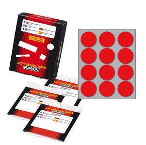 Etichetta adesiva rosso tonda Ø34mm (10fogli x 12etichette) Markin