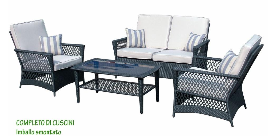 Salotto Da Giardino In Polyrattan Alluminio Mod Maria Set