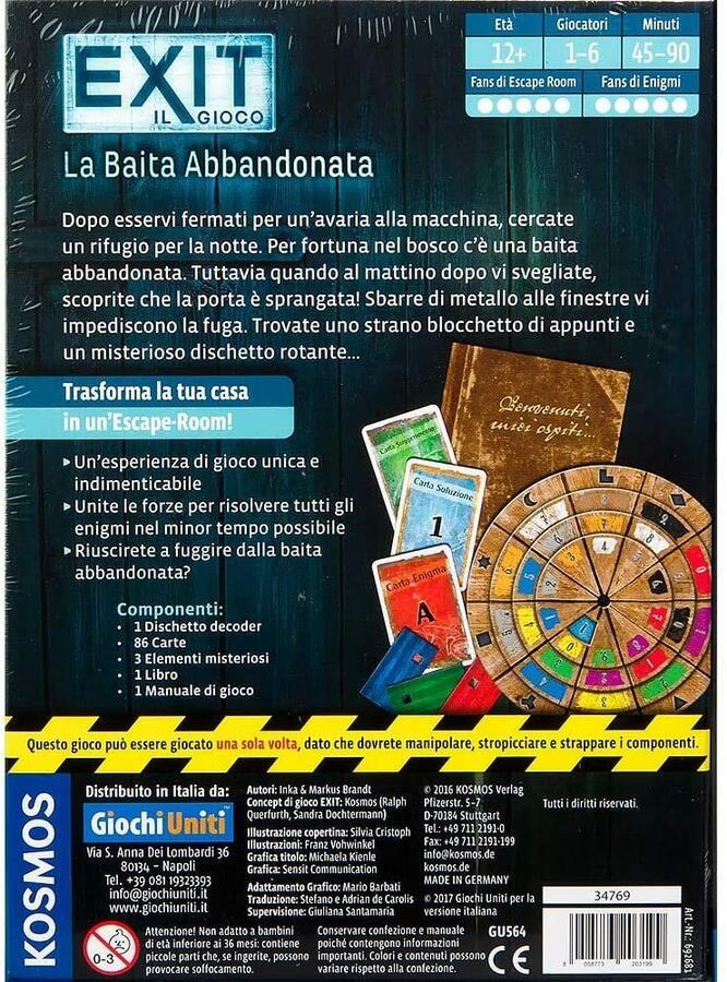 Exit il gioco - La baita abbandonata - Giochi Uniti GU564 - 12+