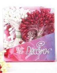 Set 288 pistilli per fiori bianco perla e rosso