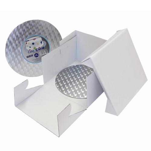 Set scatola portatorta con vassoio argentato tondo cm 35