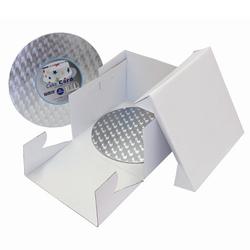Set scatola portatorta con vassoio argentato tondo cm 30