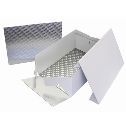 Set scatola portatorta con vassoio argentato 33 x 22,8 cm